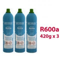 GAS R600a (isobutane) 3 x 420g BOTTLES