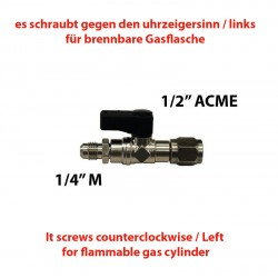 "TAP 1/2""(F) ACME LEFT - 1/4""(M) SAE WITH PIN"
