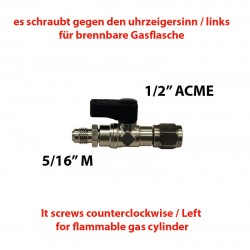 "TAP 1/2""(F) ACME LEFT - 5/16""(M) SAE WITH PIN"